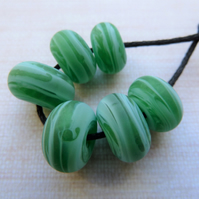 handmade green lampwork glass tumbled beads