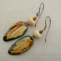 handmade copper, lampwork and ceramic owl wing earrings