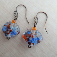 handmade lampwork shell earrings, copper jewellery