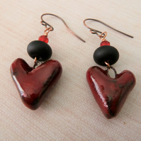 red and black ceramic heart earrings, copper and lampwork