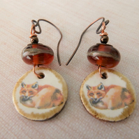 copper, lampwork and ceramic fox earrings