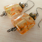 lampwork goldstone and copper earrings