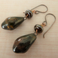copper, lampwork and ceramic brown drop earrings
