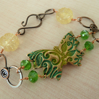 handmade bronze green butterfly and copper bracelet