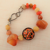 lampwork glass autumn leaf bracelet with copper hook