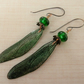green dragonfly lampwork, copper and resin earrings