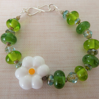 lampwork glass daisy bracelet with silver hook