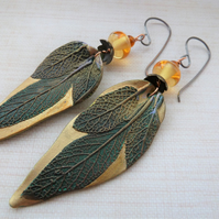 copper, polymer leaf and amber lampwork earrings