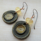 pale yellow lampwork, copper and ceramic disc earrings