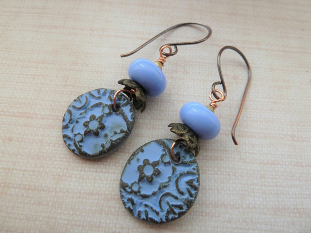 copper, blue lampwork and ceramic earrings