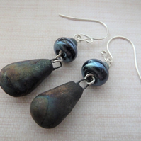 rusty ceramic drop earrings