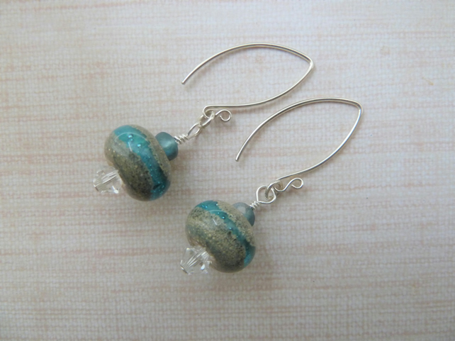 blue beach sterling silver earrings