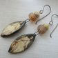 ophelia copper, lampwork and ceramic earrings