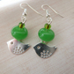 green bird charm earrings