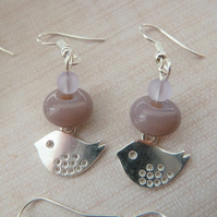 purple bird charm earrings