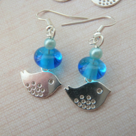blue bird charm earrings
