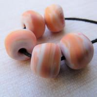 lampwork glass orange nugget beads