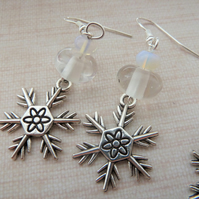 lampwork snowflake charm earrings, clear beads