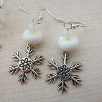 lampwork glass snowflake charm earrings, white beads