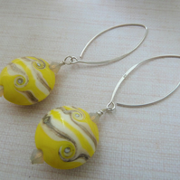yellow lampwork and silver earrings