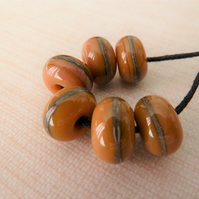 lampwork glass brown wrapped beads