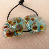 blue frit shell lampwork glass beads