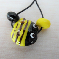 lampwork yellow glass bee bead