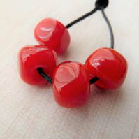 red nugget lampwork glass beads
