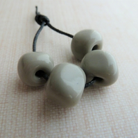 grey nugget lampwork glass beads