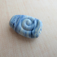blue spiral lampwork glass focal bead