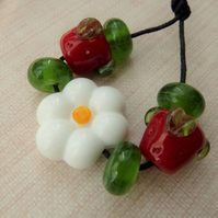flower and strawberry lampwork glass bead set