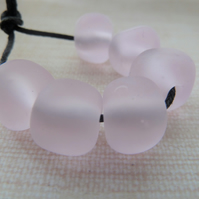 pink frosted nugget lampwork glass beads