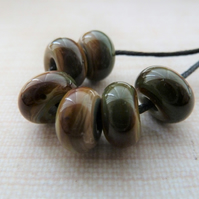 brown lampwork glass spacer beads