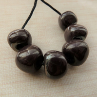 silver plum lampwork glass nugget beads