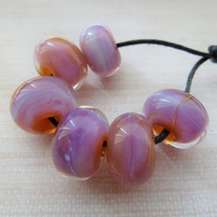 pink kalypso lampwork glass beads