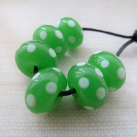 green and white spots lampwork glass bead set