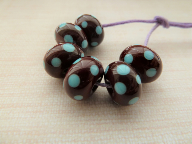 chocolate brown and blue spots lampwork glass beads
