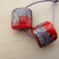 red and purple frit handmade lampwork glass beads
