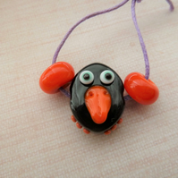 black bird lampwork glass beads