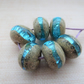 blue sparkly handmade lampwork glass beads