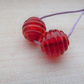 red ribbed lampwork glass beads