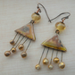 copper, lampwork and ceramic earrings, golden rain
