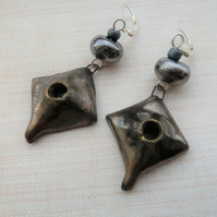 bronze ceramic drop sterling silver earrings