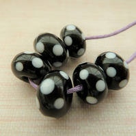 black and white polka dot lampwork glass beads set