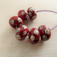 red and ivory spot lampwork glass beads