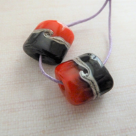 black and red lampwork glass beads