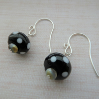 black polka dot sterling silver earrings