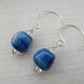 blue lampwork glass sterling silver earrings