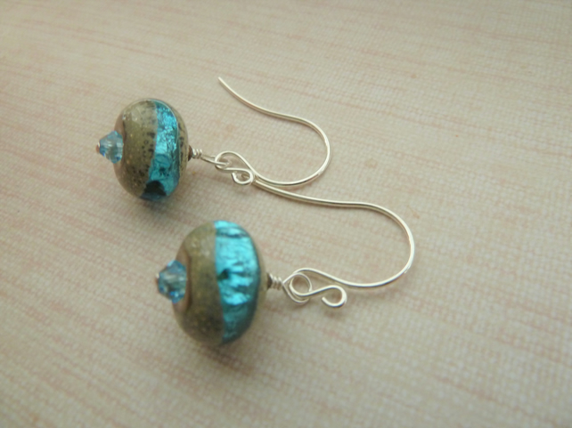 blue sparkle glass and sterling silver earrings