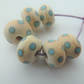 ivory and blue polka dot lampwork glass beads